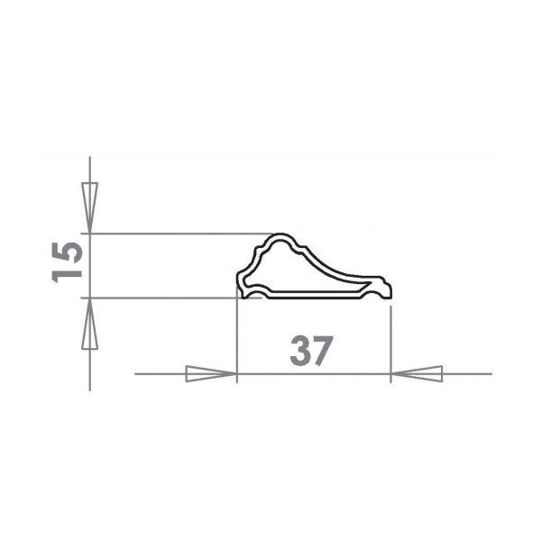 Visuel Moulure Décorative PVC 36 x 15 mm Blanc 9016