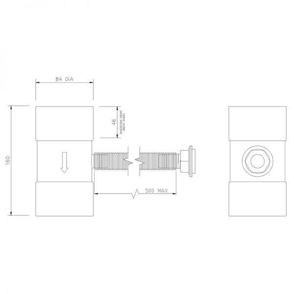 Visuel Récupérateur Pluvial pour Tuyau de Descente 80 mm Blanc