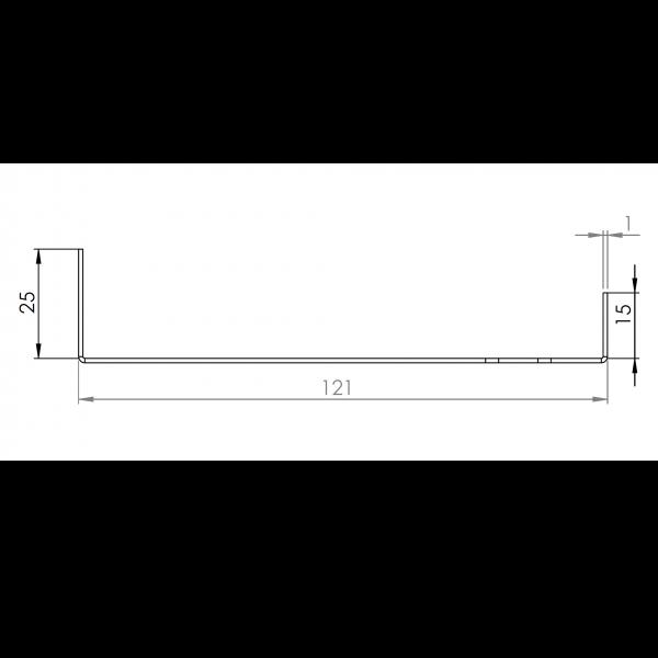 Visuel Tôle Départ Alu Ventilée prof. 121 mm Tasseaux 27 mm RAL 1013