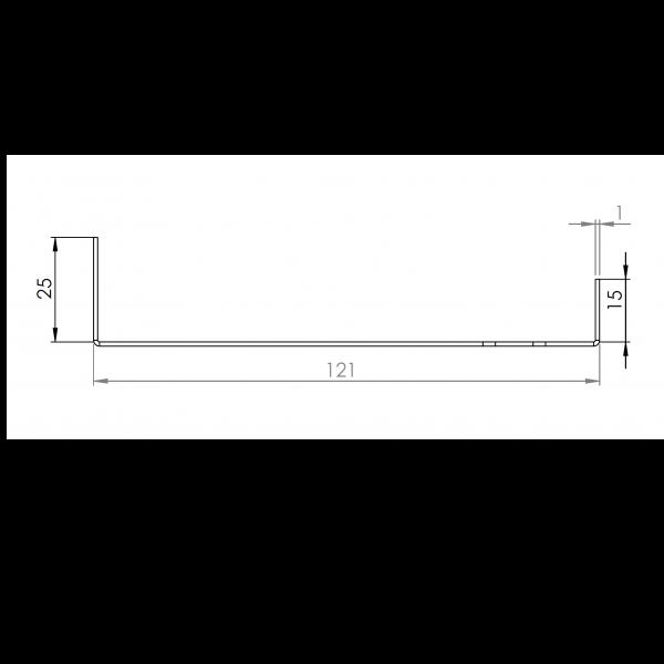 Visuel Tôle Départ Alu Ventilée prof. 121 mm Tasseaux 27 mm RAL 7040