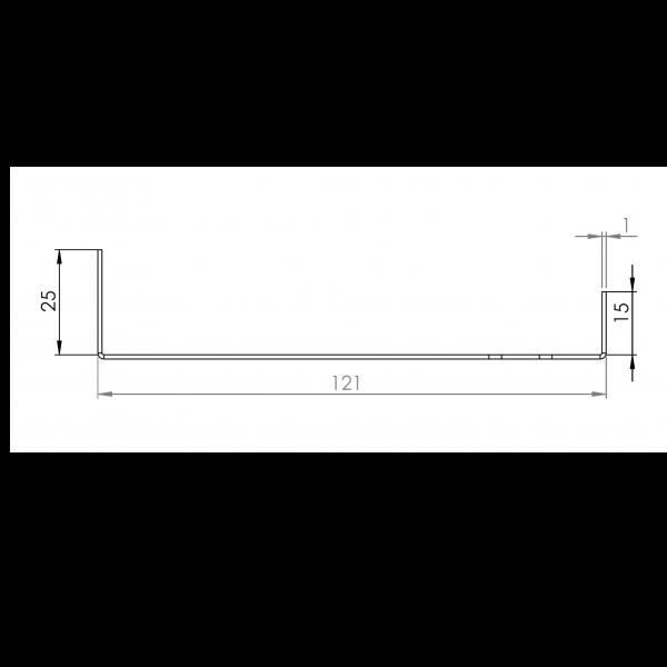 Visuel Tôle Départ Alu Ventilée prof. 121 mm Tasseaux 27 mm RAL 1019