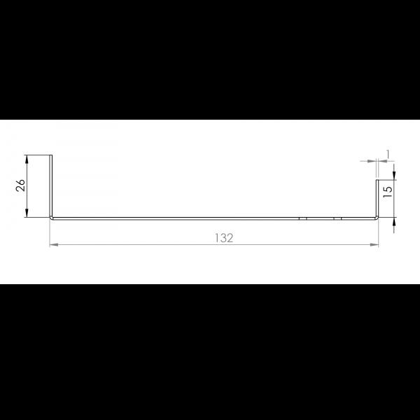 Visuel Tôle Départ Alu Ventilée prof. 132 mm Tasseaux 40 mm RAL 1015