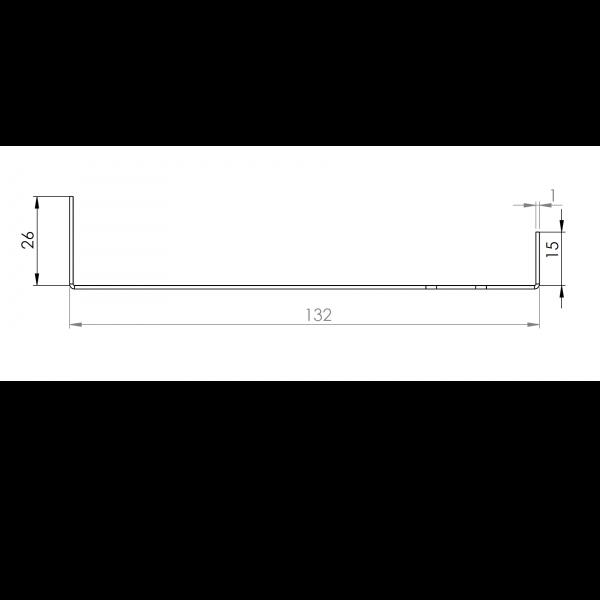 Visuel Tôle Départ Alu Ventilée prof. 132 mm Tasseaux 40 mm RAL 1019