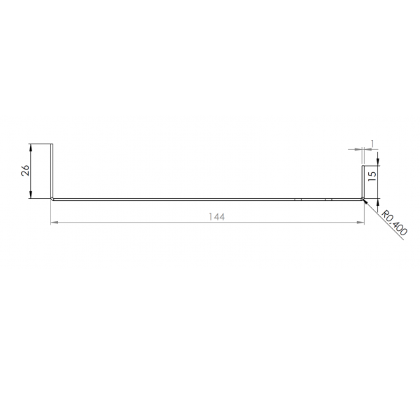 Visuel Tôle Départ Alu Ventilée prof. 144 mm Tasseaux 50 mm RAL 1015