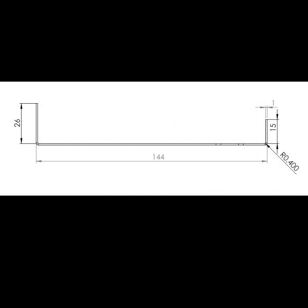 Visuel Tôle Départ Alu Ventilée prof. 144 mm Tasseaux 50 mm RAL 1019