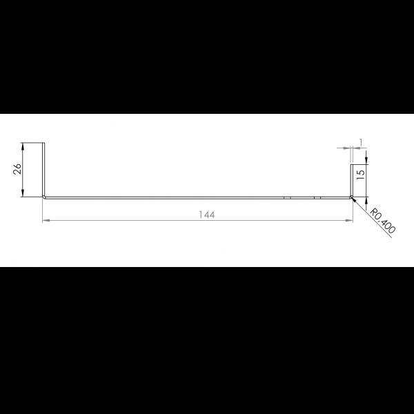 Visuel Tôle Départ Alu Ventilée prof. 144 mm Tasseaux 50 mm RAL 7035