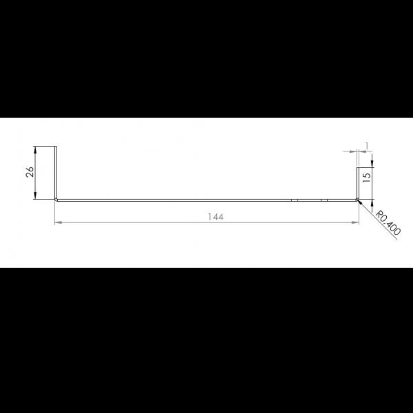 Visuel Tôle Départ Alu Ventilée prof. 144 mm Tasseaux 50 mm RAL 8008