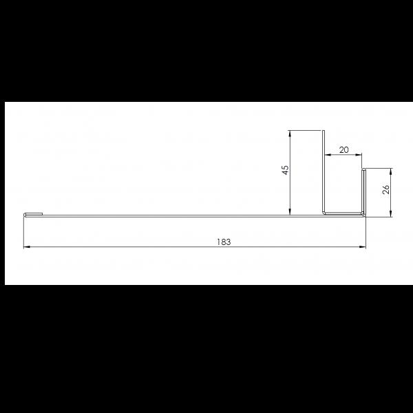 Visuel Tôle Ébrasement Alu prof. 180 mm RAL 1013