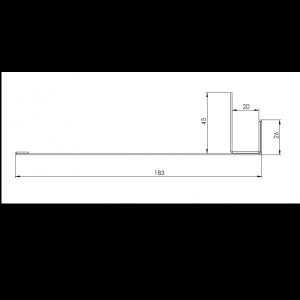 Visuel Tôle Ébrasement Alu prof. 180 mm RAL 1015