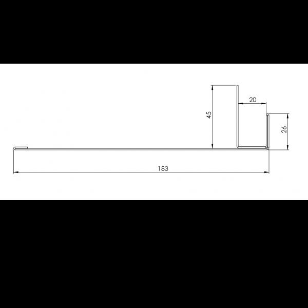 Visuel Tôle Ébrasement Alu prof. 180 mm RAL 1019