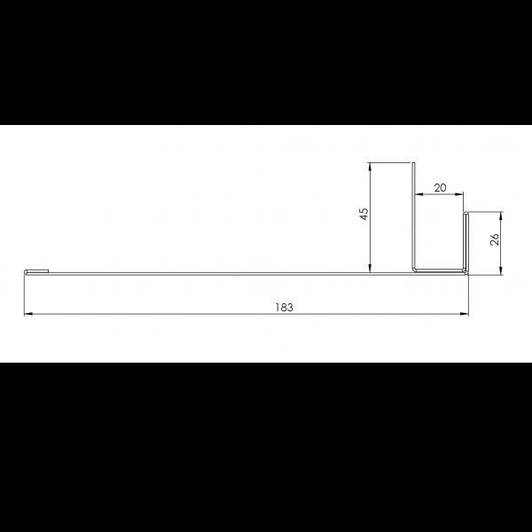 Visuel Tôle Ébrasement Alu prof. 180 mm RAL 7016