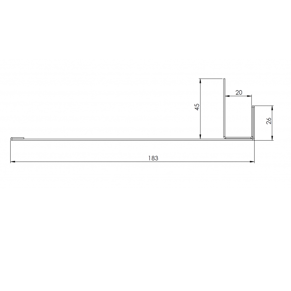 Visuel Tôle Ébrasement Alu prof. 180 mm RAL 8008
