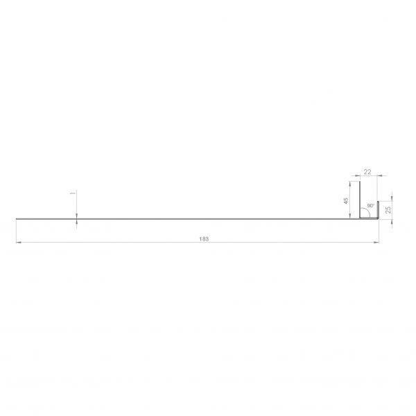 Visuel Tôle Ébrasement Alu prof. 180 mm Bardage ép. 22 mm RAL 1015