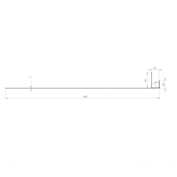 Visuel Tôle Ébrasement Alu prof. 180 mm Bardage ép. 22 mm RAL 7035