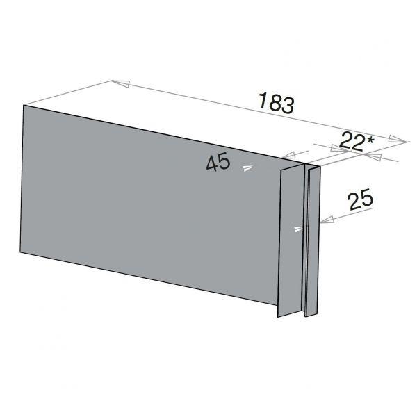 Visuel Tôle Ébrasement Alu prof. 180 mm Bardage ép. 22 mm RAL 7040