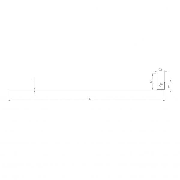Visuel Tôle Ébrasement Alu prof. 180 mm Bardage ép. 22 mm RAL 8008
