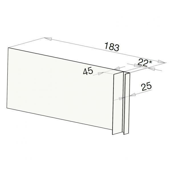 Visuel Tôle Ébrasement Alu prof. 180 mm Bardage ép. 22 mm RAL 9016