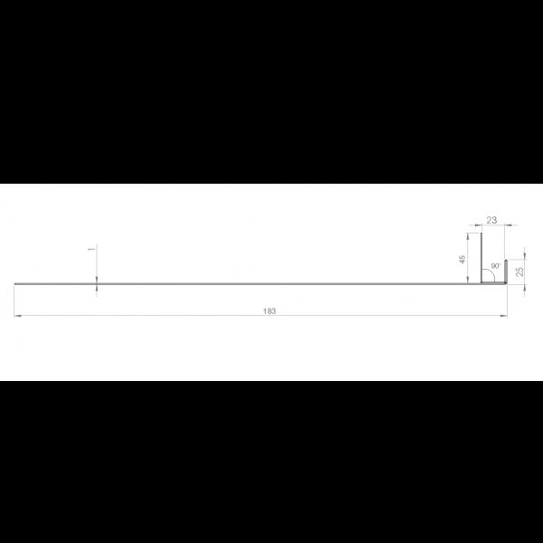 Visuel Tôle Ébrasement Alu prof. 180 mm Bardage ép. 23 mm RAL 1013