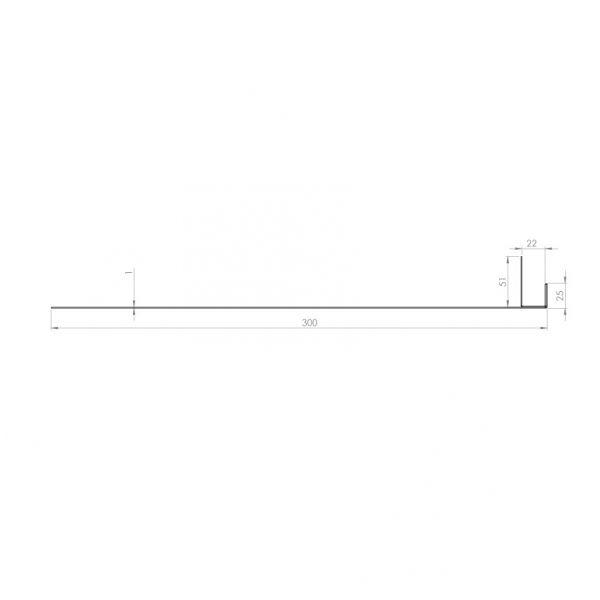 Visuel Tôle Ébrasement Alu prof. 300 mm Bardage ép. 22 mm RAL 1013