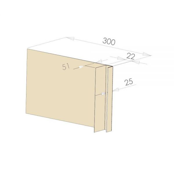 Visuel Tôle Ébrasement Alu prof. 300 mm Bardage ép. 22 mm RAL 1015