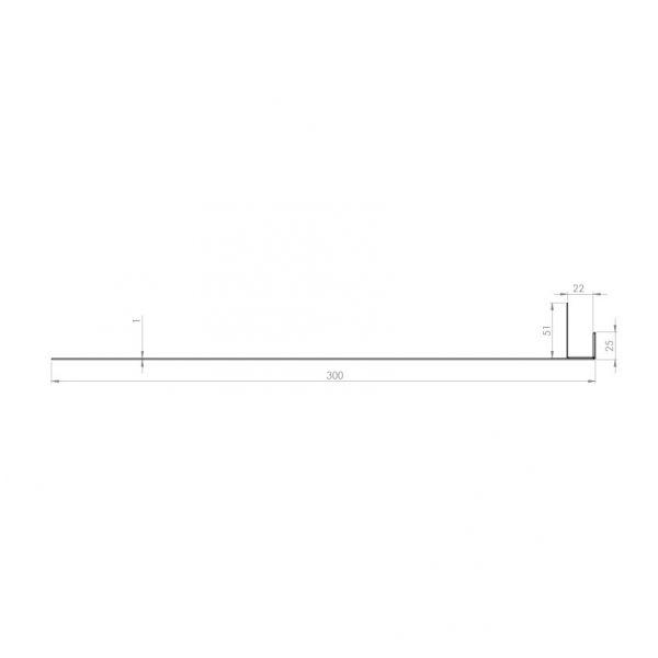 Visuel Tôle Ébrasement Alu prof. 300 mm Bardage ép. 22 mm RAL 1019