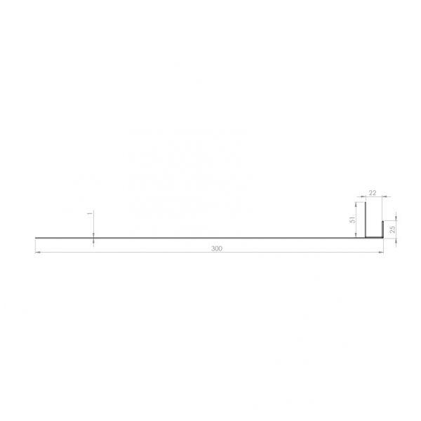 Visuel Tôle Ébrasement Alu prof. 300 mm Bardage ép. 22 mm RAL 7016