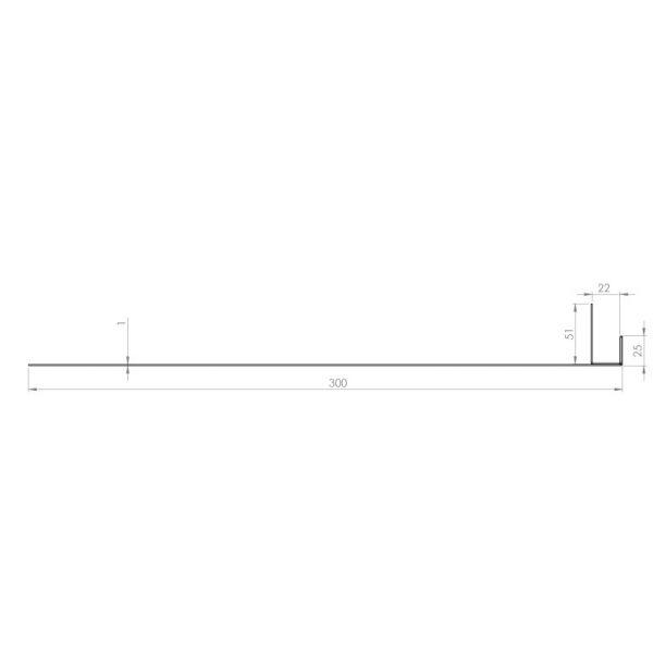 Visuel Tôle Ébrasement Alu prof. 300 mm Bardage ép. 22 mm RAL 7035