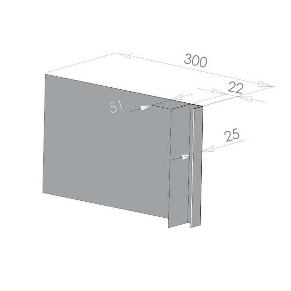 Visuel Tôle Ébrasement Alu prof. 300 mm Bardage ép. 22 mm RAL 7040
