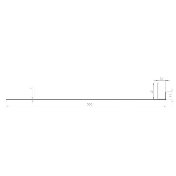 Visuel Tôle Ébrasement Alu prof. 300 mm Bardage ép. 22 mm RAL 8008