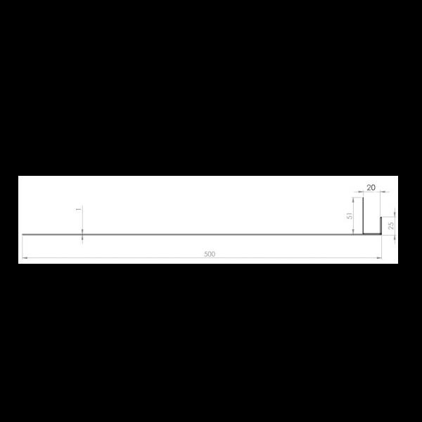 Visuel Tôle Ébrasement Alu prof. 500 mm Bardage ép. 20 mm RAL 8008