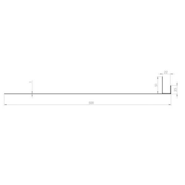 Visuel Tôle Ébrasement Alu prof. 500 mm Bardage ép. 22 mm RAL 7032
