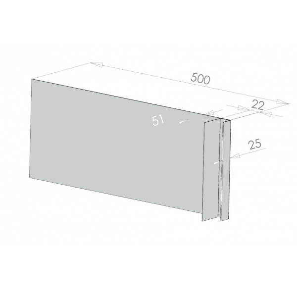 Visuel Tôle Ébrasement Alu prof. 500 mm Bardage ép. 22 mm RAL 7035