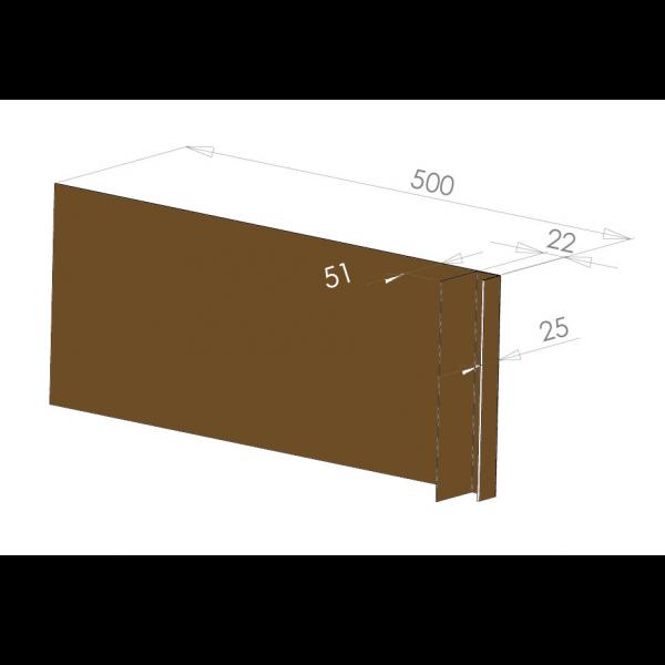 Visuel Tôle Ébrasement Alu prof. 500 mm Bardage ép. 22 mm RAL 8008