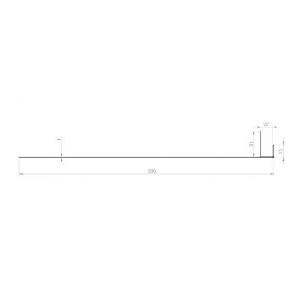 Visuel Tôle Ébrasement Alu prof. 500 mm Bardage ép. 22 mm RAL 9016
