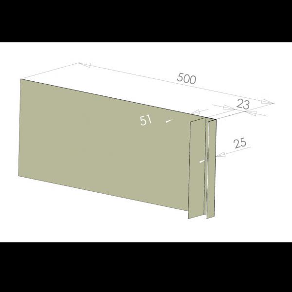 Visuel Tôle Ébrasement Alu prof. 500 mm Bardage ép. 23 mm RAL 7032