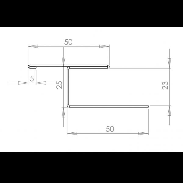 Visuel Profil en H Alu Bardage 23 mm RAL 9016