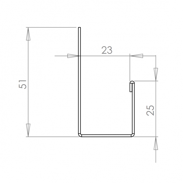 Visuel Profil en J Alu Bardage 23 mm RAL 1013