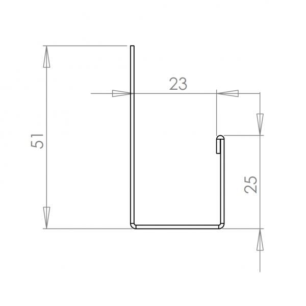 Visuel Profil en J Alu Bardage 23 mm RAL 7022