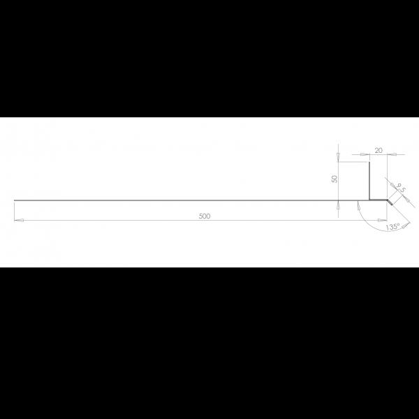 Visuel Tôle Linteau Alu Ventilée 20 mm RAL 8008