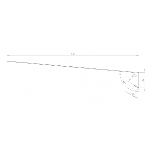 Visuel Tôle Rive Ajustable Alu prof. 250 mm RAL 1013