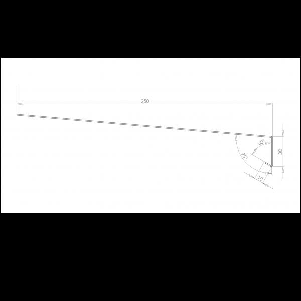Visuel Tôle Rive Ajustable Alu prof. 250 mm RAL 1015