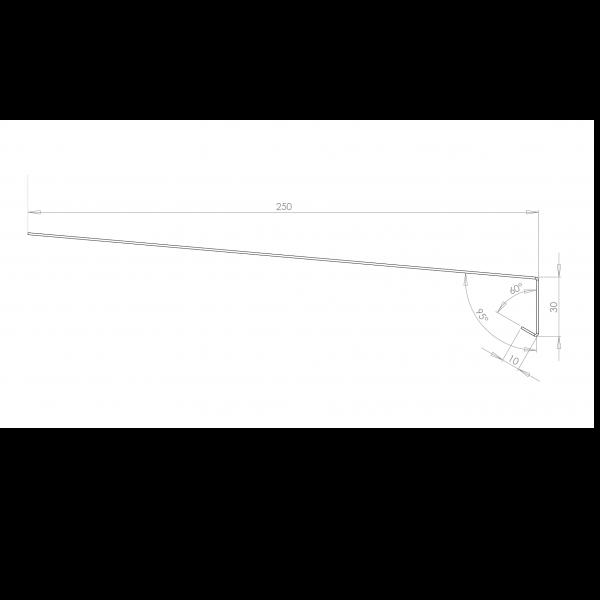 Visuel Tôle Rive Ajustable Alu prof. 250 mm RAL 1019