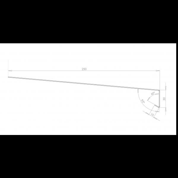 Visuel Tôle Rive Ajustable Alu prof. 250 mm RAL 7016