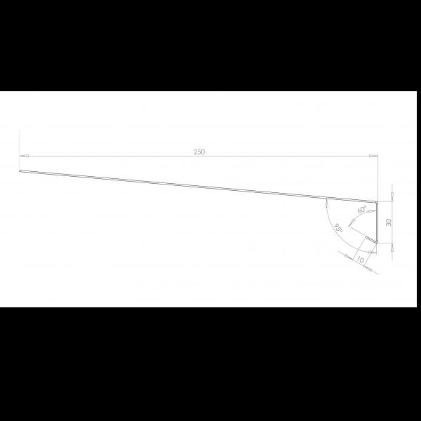 Visuel Tôle Rive Ajustable Alu prof. 250 mm RAL 7035