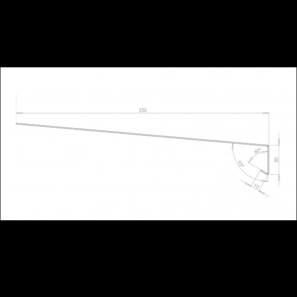 Visuel Tôle Rive Ajustable Alu prof. 250 mm RAL 7040
