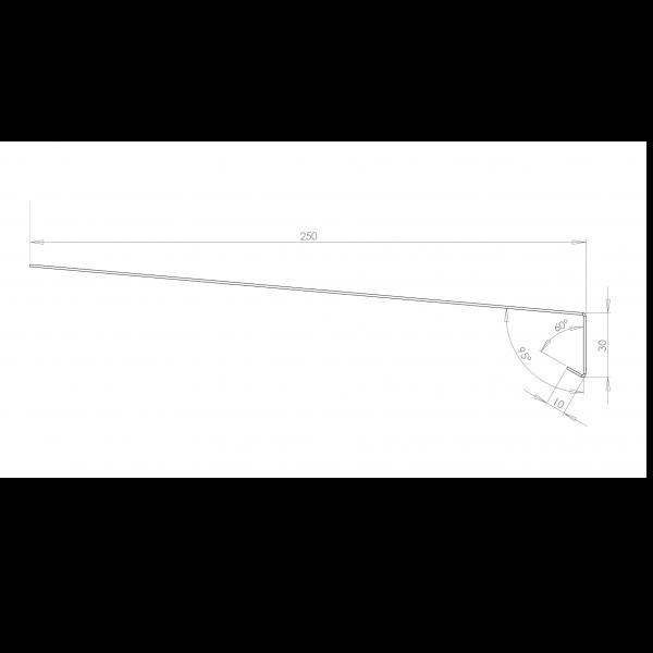 Visuel Tôle Rive Ajustable Alu prof. 250 mm RAL 9016