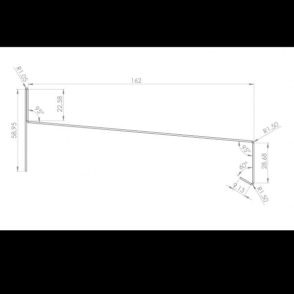 Visuel Tôle Rive Alu prof. 164 mm RAL 7032