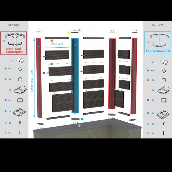 Visuel Kit Poteau de Connexion Twinson® Argent Max 1,15 m