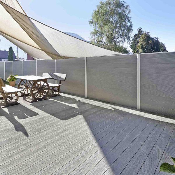 Visuel Lame de Terrasse Caractère Pleine Twinson® 4000 x 140 x 20 mm Gris ardoise