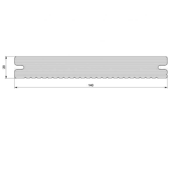 Visuel Lame de Terrasse Caractère Pleine Twinson® 4000 x 140 x 20 mm Gris galet